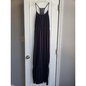 Black maxi dress with lace details
